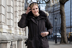 © Licensed to London News Pictures. 27/04/2021. London, UK. Alok Sharma's chief of staff Cleo Watson arrives at the Cabinet Office. Prime Minster Boris Johnson has recently come under criticism from his former chief advisor Dominic Cummings. Photo credit: George Cracknell Wright/LNP