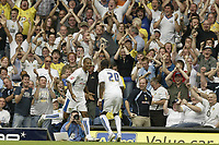 Photo: Aidan Ellis.<br /> Leeds United v Hartlepool United. Coca Cola League 1. 08/09/2007.<br /> Leeds Jermain Beckford celebrates scoring the second goal with Tresor Kandol