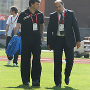 Kasimpasa's coach Fuat CAPA (R) and Bursaspor's coach Ertugrul SAGLAM (L) during their Turkish Superleague soccer match Kasimpasa between Bursaspor at the Recep Tayyip Erdogan stadium in Istanbul Turkey on Sunday 15May 2011. Photo by TURKPIX