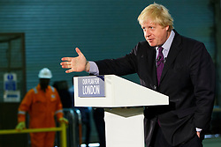 © Licensed to London News Pictures. 24/04/2015. LONDON, UK. Mayor of London and Conservative Party parliamentary candidate for Uxbridge and South Ruislip, Boris Johnson  makes a speech at Lynch House in Stanmore, northwest London on Friday, 24 April 2015. Photo credit : Tolga Akmen/LNP