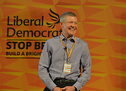 Pictured: Scottish Lib Dem leader Willie Rennie on stage at the rally.<br /> <br /> Liberal Democrat leader Jo Swinson held a campaign rally in central Edinburgh, where she talked about the party's opposition to independence.<br /> <br /> © Dave Johnston / EEm