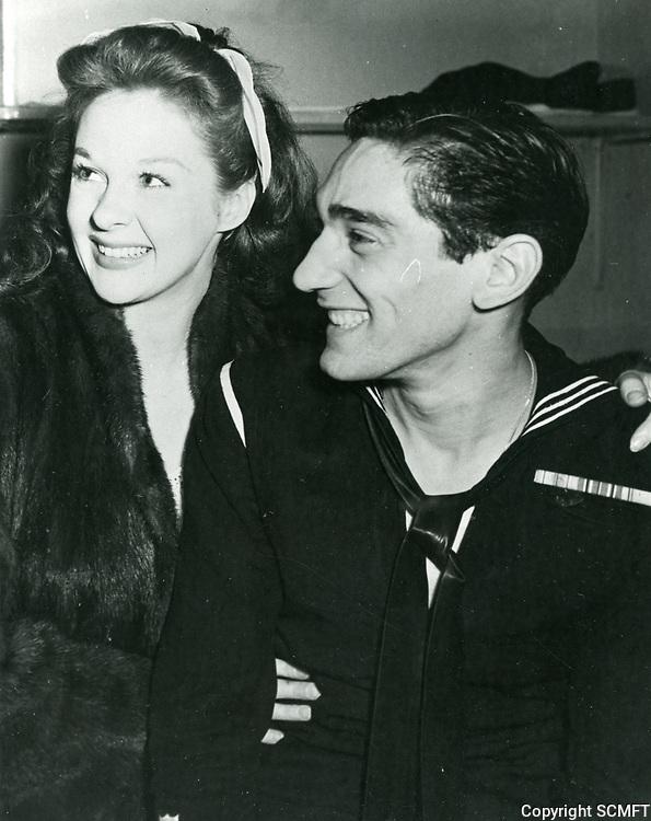 1944 Susan Hayward poses with a sailor at the Hollywood Canteen