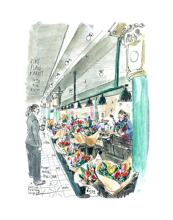 Flower stall at the Pike Place Market.<br /> <br /> Gabriel Campanario / The Seattle Times