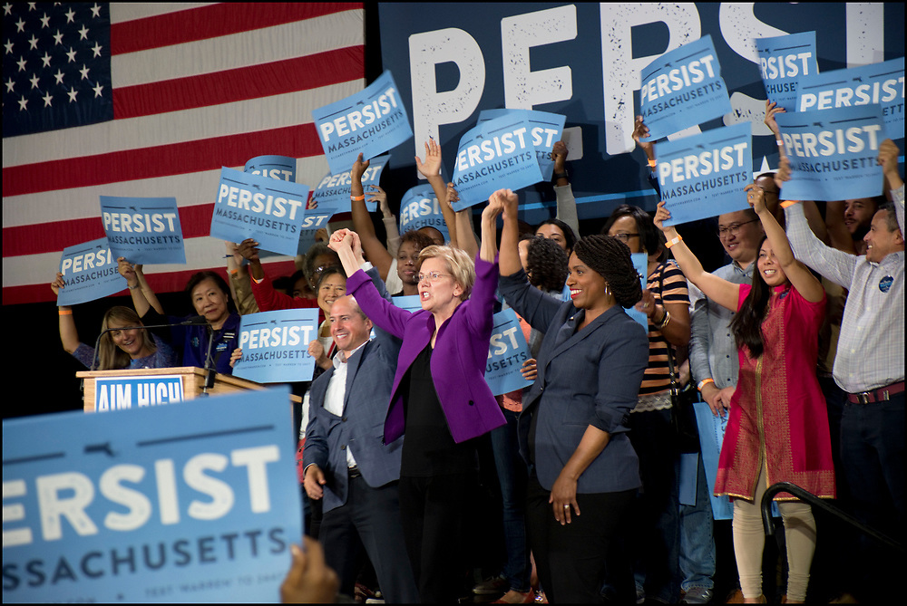 Elizabeth Warren with Jay Inslee and Ayanna Pressley at a campaign rally on September 9, 2018 in Cambridge, MA. Warren won re-election to the U.S. Senate.