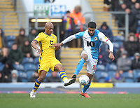 Blackburn Rovers Dominic Samuel in action with Swansea City's Andre Ayew<br /> <br /> Photographer Mick Walker/CameraSport<br /> <br /> The EFL Sky Bet Championship - Blackburn Rovers v Swansea City - Saturday 29th February 2020 - Ewood Park - Blackburn<br /> <br /> World Copyright © 2020 CameraSport. All rights reserved. 43 Linden Ave. Countesthorpe. Leicester. England. LE8 5PG - Tel: +44 (0) 116 277 4147 - admin@camerasport.com - www.camerasport.com