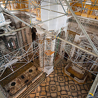 A general view from the special scaffolding built inside the Church of the Gesuiti.Several major restoration works are being carried out in this period in Venice, the go to a complete refurbishment of the famous Gritti Palace Hotel, to transformation into a luxury VIP 7 stars hotel of XV century Palazzo Papadopoli to the restoration of the Church of the Gesuiti