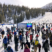 The most snow in history fell on Mammoth Lakes in the Eastern Sierras in February, 2019. Upwards of 20 feet fell on Mammoth Mountain and blanketed the town.
