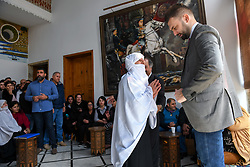New Druze leader Taymur Jumblatt (or Taymour Joumblatt), right, seen in his palace, in Moukhtara, in the Chouf Mountain, in Lebanon, on April 28, 2018, as he receives his people, a week before general elections that will take place in Lebanon on May 6. Photo par Ammar Abd Rabbo/ABACAPRESS.COM