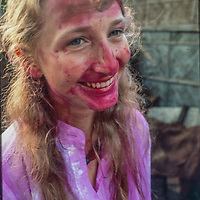 Meredith Wiltsie after college students tossed dye colored ballons as they celebrate the Hindu holiday Holi in Dhaka, Bangladesh, 1977.
