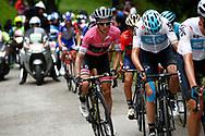 Simon Yates (GBR - Mitchelton - Scott) pink leader jersey during the 101th Tour of Italy, Giro d'Italia 2018, stage 14, San Vito Al Tagliamento - Monte Zoncolan 181 km on May 19, 2018 in Italy - Photo Luca Bettini / BettiniPhoto / ProSportsImages / DPPI