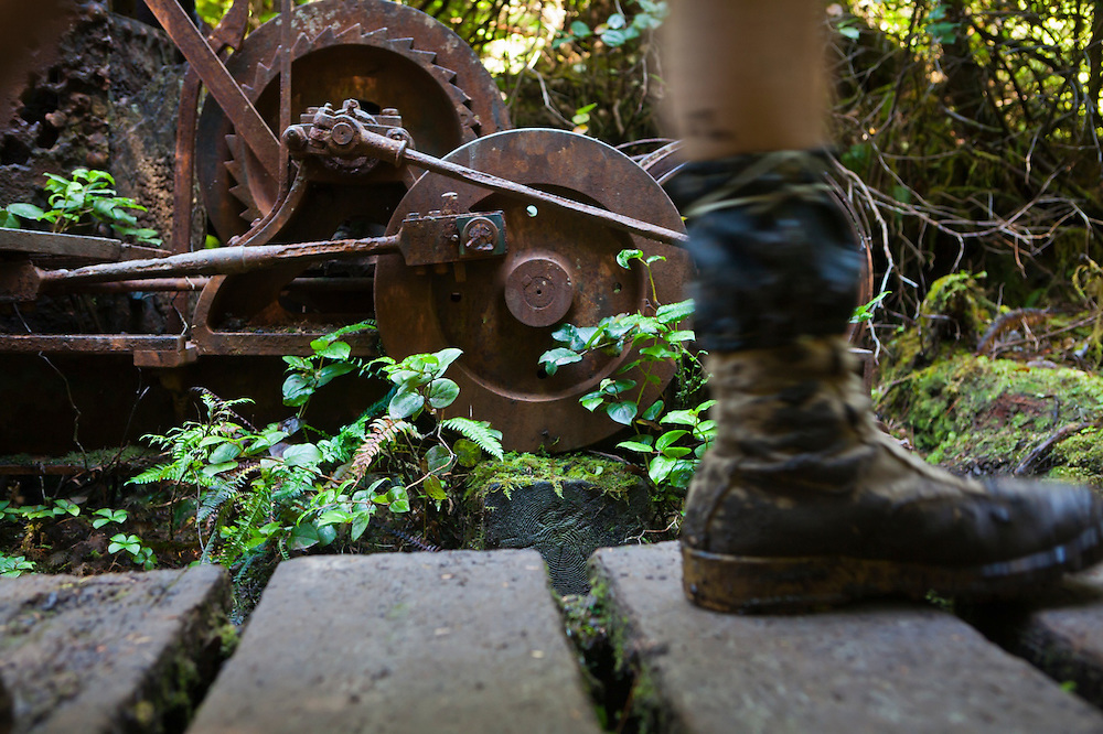 Henry hikes on a boardwalk past a derelict donkey engine and logging grader, West Coast Trail, British Columbia, Canada.