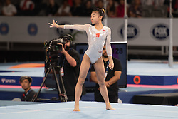 MELBOURNE, Feb. 24, 2019  China's Zhao Shiting competes during women's floor final at World Cup Gymnastics in Melbourne, Australia, on Feb. 24, 2019. Zhao Shiting won the bronze medal with a score of 12.266. (Credit Image: © Eilzabeth Xue Bai/Xinhua via ZUMA Wire)