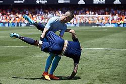 May 20, 2018 - Valencia, Valencia, Spain - Jaume Domenech (R) and Simone Zaza of Valencia CF celebrate the victory during the La Liga game between Valencia CF and Deportivo de la Coruna at Mestalla on May 20, 2018 in Valencia, Spain  (Credit Image: © David Aliaga/NurPhoto via ZUMA Press)
