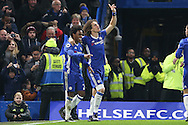 Willian of Chelsea (l) celebrates scoring his sides 2nd goal with David Luiz of Chelsea. Premier league match, Chelsea v Stoke city at Stamford Bridge in London on Saturday 31st December 2016.<br /> pic by John Patrick Fletcher, Andrew Orchard sports photography.