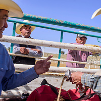 Emerson Billy, center right, and Devin Largo watch as instructors Henry Hildreth, left, and Robert Burbank prepare their gear for the D Largo Saddle Bronc school in Pinedale Saturday.