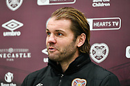 Heart of Midlothian manager Robbie Neilson speaks to the media during the press conference for Heart of Midlothian at the Oriam Sports Performance Centre, Edinburgh, Scotland on 23 December 2020, ahead of the SPFL Championship match against Ayr United.