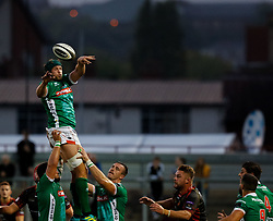Benetton Treviso's Dean Budd claims the lineout<br /> <br /> Photographer Simon King/Replay Images<br /> <br /> 1 Round 1 - Dragons v Benetton Treviso - Saturday 1st September 2018 - Rodney Parade - Newport<br /> <br /> World Copyright © Replay Images . All rights reserved. info@replayimages.co.uk - http://replayimages.co.uk
