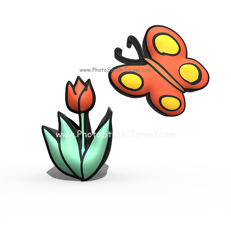 Nursery rhymes and childhood images series: Flower and butterfly drawing