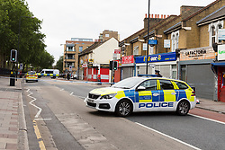 © Licensed to London News Pictures. 17/06/2019. London, UK.  The crime scene in West Ham Lane where police were called by London Ambulance Service at approximately 00:40hrs today, Monday, 17th June to reports of an unresponsive man found collapsed with stab injuries in Whalebone Lane, near to West Ham Lane in Stratford, E15. The man, believed aged in his 40s, was pronounced dead at the scene at 01:01hrs.  Photo credit: Vickie Flores/LNP
