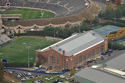 Aerial Photograph of Coxe Cage at Yale University, New Haven, CT. New Skylights and Roof renovation. October 2013. The Yale-Fordham Football Game is going on in the background.