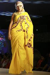 April 3, 2017 - Dhaka, Bangladesh - Bangladeshi model displays cloths during a fashion show in Dhaka, Bangladesh, April 3, 2017. (Credit Image: © Suvra Kanti Das via ZUMA Wire)