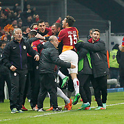 Galatasaray's Aurelien Bayard Chedjou Fongang celebrate his goal with team mate during their UEFA Champions League Round of 16 First leg soccer match Galatasaray between Chelsea at the AliSamiYen Spor Kompleksi in Istanbul, Turkey on Wednesday 26 February 2014. Photo by Aykut AKICI/TURKPIX