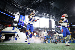 The Florida Gators run out on the field during the Chick-fil-A Peach Bowl, Saturday, December 29, 2018, in Atlanta. (Jason Parkhurst via Abell Images for Chick-fil-A Peach Bowl)