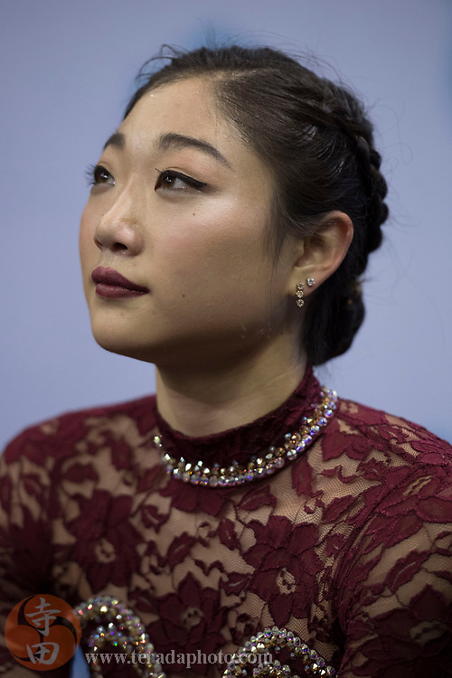 January 3, 2018; San Jose, CA, USA; Mirai Nagasu looks on in the kiss and cry in the ladies short program during the 2018 U.S. Figure Skating Championships at SAP Center.