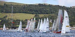 Peelport Clydeport, Largs Regatta Week 2014 Largs Sailing Club based at  Largs Yacht Haven with support from the Scottish Sailing Institute & Cumbrae.<br /> <br /> Fast handicap dinghy fleet start