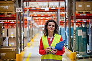 Health and Safety Engineer Simona<br /> Janickova at the storehouse of the Mölnlycke factory in Karvina/Czech Republic.
