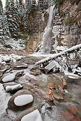 Virginia Falls in Autumn, icicles were abundant after a early snow and a severe drop in temperature in Glacier National Park