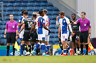 Players bump fists at full time during the EFL Cup match between Blackburn Rovers and Doncaster Rovers at Ewood Park, Blackburn, England on 29 August 2020.