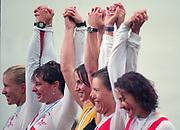 Tampere Kaukajaervi,  FINLAND.   Women's Pair left Silver Medalist USA W2- Kate SLATTER and Meagan STILL, centre  AUS W2- Kate SLATTER and Meagan STILL, right Bronze medalist, FRA W2- Celine CUISANT-GARCIA  and Christine GOSSE, awards dock,1995 World Rowing Championships - Lake Tampere, 08.1995<br /> <br /> [Mandatory Credit; Peter Spurrier/Intersport-images] Re-Edited and file ref No. updated, 16th January 2021.