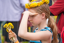 stock photo of a little girl and dandelions