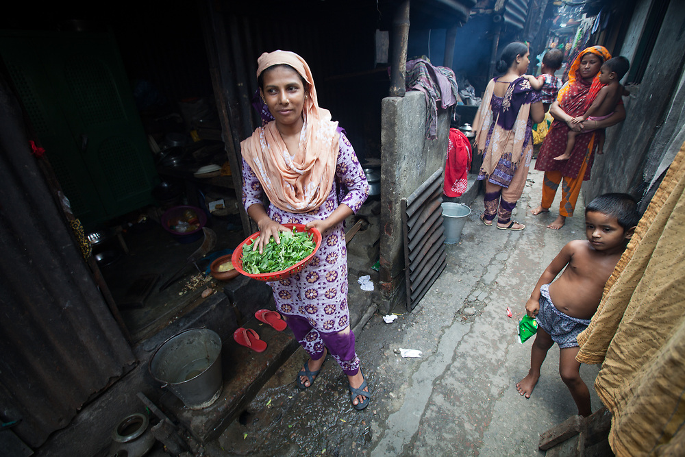 Shajanaj Hanif lives with her family in the Outfall Slum in Dhaka, Bangladesh. North American aid group World Renew supports them through local organisation SATHI.