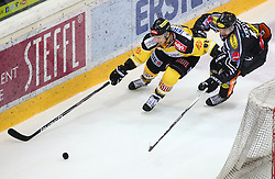 02.02.2016, Albert Schultz Eishalle, Wien, AUT, EBEL, UPC Vienna Capitals vs Dornbirner Eishockey Club, Platzierungsrunde, im Bild Florian Iberer (UPC Vienna Capitals) und Philipp Kreuzer (Dornbirner EC) // during the Erste Bank Icehockey League placement round match between UPC Vienna Capitals and Dornbirner Eishockey Club at the Albert Schultz Ice Arena, Vienna, Austria on 2016/02/02. EXPA Pictures © 2016, PhotoCredit: EXPA/ Thomas Haumer