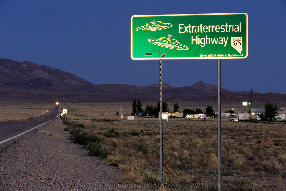 Near Area 51, Extraterrestrial Highway 375 north of town of Rachel, Nevada.  Little A'le'Inn in the distance. (1999).
