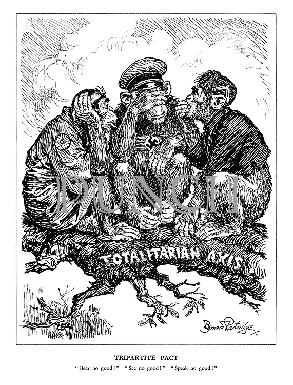 """Tripartite Pact. """"Hear no good!"""" """"See no good!"""" """"Speak no good!"""" (the three Axis monkeys Japan, Germany and Italy sit on the Totalitarian Axis branch)"""