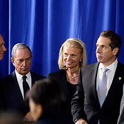 IBM Chairman and CEO Ginni Rometty (center), joins New York Governor Andrew Cuomo, NYC Mayor Michael Bloomberg and Senator Charles Schumer at President Obama's visit to the Pathways in Technology Early College High School (P-TECH) in Brooklyn, N.Y. on October 25, 2013. IBM helped establish P-TECH in 2011 by partnering with the NYC Department of Education, the City University of New York and the New York College of Technology. The IBM P-TECH education model is being replicated in New York and other states.  (Jon Simon/Feature Photo Service for IBM)