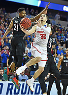 Houston Cougars guard Rob Gray (32) scores the winning basket past San Diego State Aztecs forward Malik Pope (21) during the second half in the first round of the 2018 NCAA Tournament at INTRUST Bank Arena.