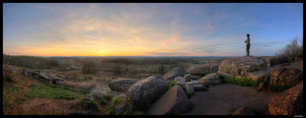 Panorama of Devil's Den, Gettysburg National Military Park.  <br /> Print Size (in inches): 15x5.5; 24x9; 36x13.5; 48x18.5; 60x23; 72x27.5