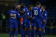 Callum Paterson of Cardiff city (2nd left) celebrates with his teammates after he scores his teams 1st goal. EFL Skybet championship match, Cardiff city v Barnsley at the Cardiff city stadium in Cardiff, South Wales on Tuesday 6th March 2018.<br /> pic by Andrew Orchard, Andrew Orchard sports photography.