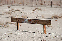 Road closed sign for protection of desert landscape, Eureka dunes, Death Valley national park, California
