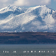 Sailing school with Bute and Arran, from Skelmorlie, Ayrshire, Scotland.