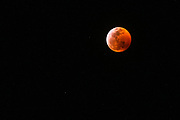 Super blood moon and  lunar eclipse January 20, 2019, Ventura, California USA