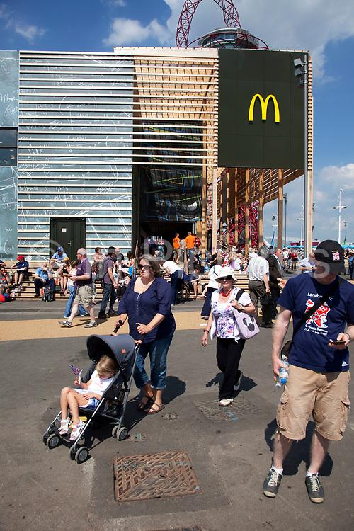 London, UK. Thursday 9th August 2012. London 2012 Olympic Games Park in Stratford. McDonalds fast food restaurant.