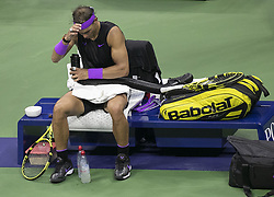 September 8, 2019, Flushing Meadows, New York, United States of America: Rafael Nadal cools down duringa change over of his Men Singles Finals match against Daniil Medvedev on Day 14 of the 2019 US Open at USTA Billie Jean King National Tennis Center on Sunday September 8, 2019 in the Flushing neighborhood of the Queens borough of New York City. JAVIER ROJAS/PI (Credit Image: © Prensa Internacional via ZUMA Wire)