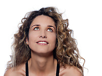 beautiful caucasian woman smile looking up portrait isolated studio on white background
