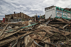 On 6 October 2016, clean up continues in Jeremie, Haiti on Thursday October 6, 2016. The city lies on the western tip of Haiti and suffered the full force of the category 4 storm, leaving tens of thousands stranded. Hurricane Matthew passed over Haiti on Tuesday October 4, 2016, with heavy rains and winds. While the capital Port au Prince was mostly spared from the full strength of the class 4 hurricane, the western cities of Les Cayes and Jeremie received the full force sustaining wind and water damage across wide areas. .Photo Logan Abassi UN/MINUSTAH. (Credit Image: © [E]Logan Abassi/Un/Minustah/Xinhua via ZUMA Wire)