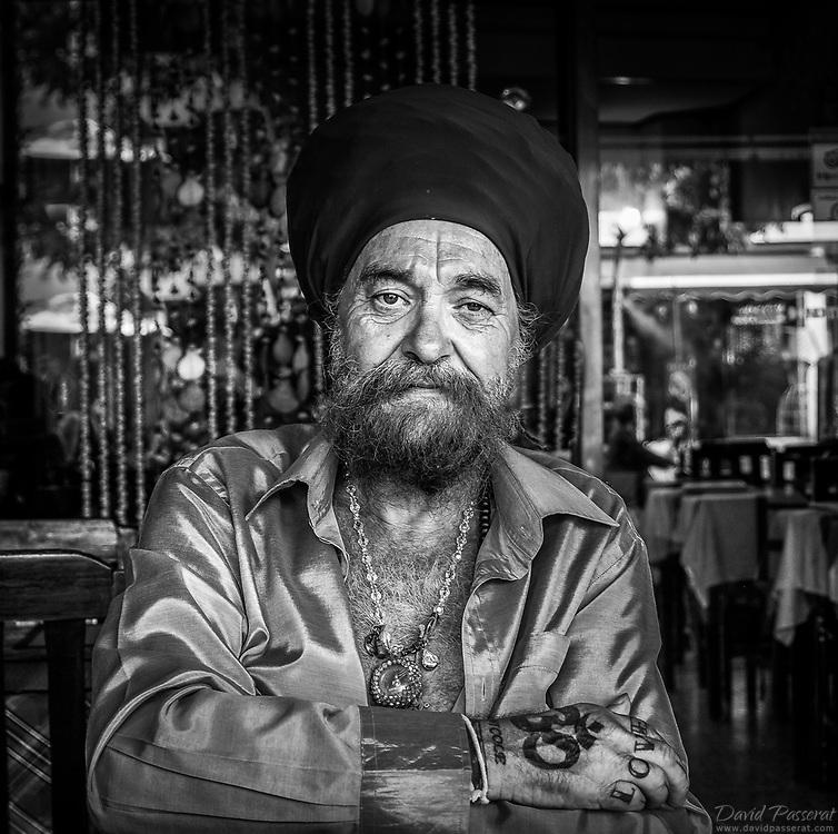 Street photo of an european Sikh.
